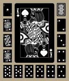 Spades suit black playing cards. Black playing cards of Spades suit with white linear drawing. Original design. Vector illustration royalty free illustration