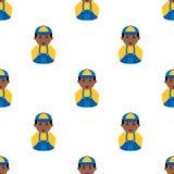 Black Plumber Avatar Icon Seamless Pattern Stock Images