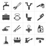 Black plumbing objects and tools icons vector illustration