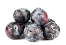 Black plums, isolated on white background Royalty Free Stock Image