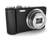 Black point and shoot photo camera isolated Royalty Free Stock Image