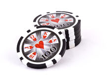 Black poker chips Stock Photos