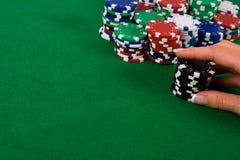 Black poker chips Royalty Free Stock Photo