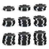 Black Poker Chips Stacks Vector. Realistic Set. royalty free illustration