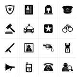 Black police, law and security icons. Vector icon set royalty free illustration
