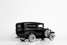 Black police patrol cab die-cast model Royalty Free Stock Photography
