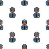 Black Policewoman Icon Seamless Pattern Royalty Free Stock Images