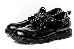 Black Polished Thick Sole Dress Shoes Royalty Free Stock Photos