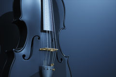 Black polished violin on  background. 3d rendering Stock Photos