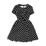 Black polka dot retro dress on white background Royalty Free Stock Photography