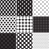 Black polka dot seamless patterns Royalty Free Stock Image