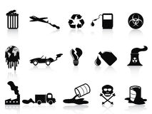 Black pollution icons set Stock Photography