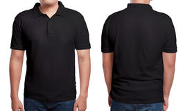 Black Polo Shirt Design Template. Black polo t-shirt mock up, front and back view, isolated. Male model wear plain black shirt mockup. Polo shirt design template Royalty Free Stock Image