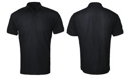 Black Polo Shirt Mock up. Blank polo shirt mock up template, front and back view, isolated on white, plain black t-shirt mockup. Polo tee design presentation for Royalty Free Stock Image