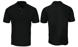 Black Polo Shirt Template. Vector illustration of blank black polo t-shirt template,  front and back design isolated on white Stock Photography