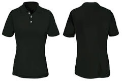 Black Polo Shirt Template for Woman Stock Photography