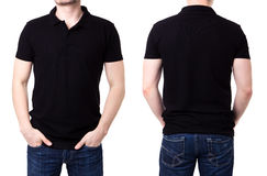 Black polo shirt on a young man template royalty free stock photos