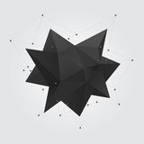 Black polygonal geometric abstract shape figure. Low poly abstract geometry shape 3d star. Royalty Free Stock Images