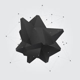 Black polygonal geometric abstract shape figure. Low poly crystal. Royalty Free Stock Photography