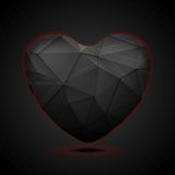 Black polygonal heart vector background Royalty Free Stock Photo