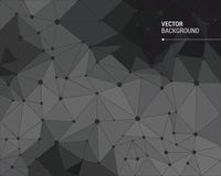 Black polygonal vector background Stock Image