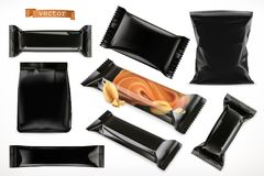 Black polymer packaging for foods. Chocolate bar, different snack products. 3d vector set mock up. Black polymer packaging for foods. Chocolate bar, different Stock Photo