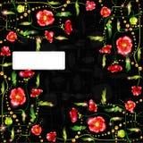 Black poppy background glossy banner Stock Photos
