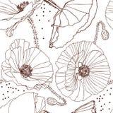 Black poppy pattern Royalty Free Stock Photography