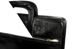 Black portfolio. With paper close-up Stock Photo