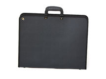 Black portfolio. Picture of black portfolio case on white background Stock Photo