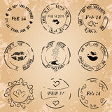 Black post stamps for valentine day - vector grunge Royalty Free Stock Photo