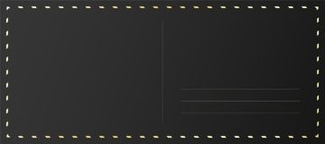 Black postcard back decorated with golden foil. Luxury travel card design vector illustration
