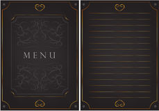 Black postcard with patterns. The inscription `menu` Royalty Free Stock Photo