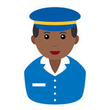 Black Postman Avatar Flat Icon on White. Avatar flat icon series: afro american mailman with blue uniform and hat, isolated on white background. Eps file Royalty Free Stock Photos