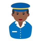 Black Postman Avatar Flat Icon on White Royalty Free Stock Photos