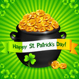 Black pot of leprechauns gold with lucky clovers Royalty Free Stock Image