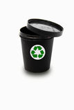 Black pot with recycle sign Stock Photo