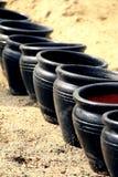Black pots Stock Photo