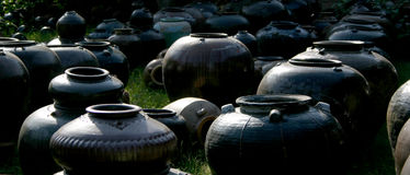 Black pots. Black, antique, ceramic pots and urns in India Royalty Free Stock Photography