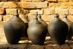 Black pottery pots are dried in Bhaktapur. Nepal Royalty Free Stock Images