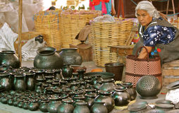 Black Pottery Stall royalty free stock image