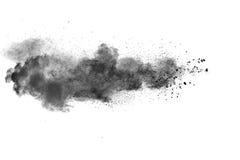 Black powder explosion. On white background. Abstract black dust texture on white background Royalty Free Stock Image