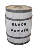Black powder keg isolated. Old wooden keg with lid labeled for black powder.  Isolated on white Stock Images