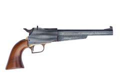 Black powder muzzle loader pistol. On white Royalty Free Stock Photo