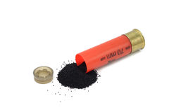 Black powder spill out of the cartridge Stock Photo
