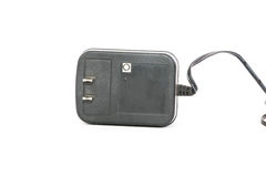Black power ac to dc adaptor in white background Royalty Free Stock Photos