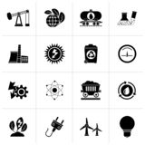 Black power and energy production icons. Vector icon set vector illustration