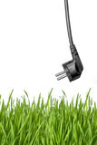 Black power plug and green grass royalty free stock image
