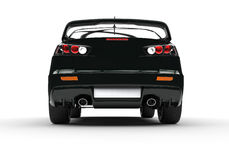 Black Powerful Modern Car on White Background - Rear View Stock Photo