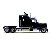 Black powerful truck. A semi truck (lorry) without any attached trailer on white Royalty Free Stock Image